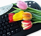 Keyboard mit Tulpen - (c) Pixelio.de
