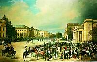 Parade unter den Linden in Berlin im Jahre 1837. Gemälde von Franz Krüger, 1839 - (c) Berlin, Stiftung Preußische Schlösser und Gärten Berlin-Brandenburg, Schloss Charlottenburg